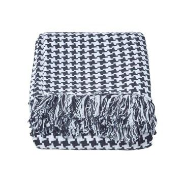 Homescapes Jeté de canapé à franges en 100% coton couleur Noire de 230 x 250 cm en motif Blanc