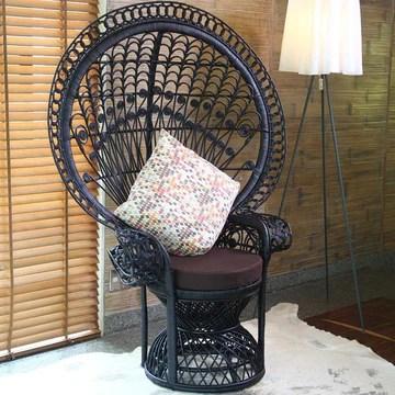Atypik Home Chaise ou Fauteuil Emmanuelle de Jardin en rotin Noir