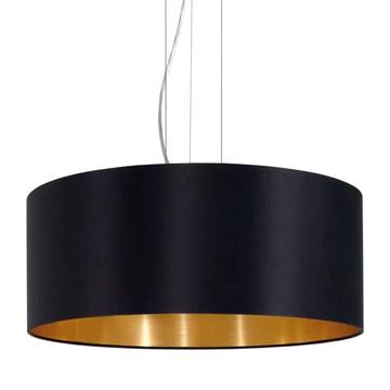 Eglo 31605 Suspension maserlo Diamètre 53 cm Nickel mat acier abat-jour noir/or