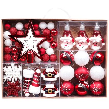 Valery Madelyn 70pcs Boules de Noël Ornements 3-6cm, décoration de Boules de Noël incassables en Plastique Rouge et Blanc, pendentifs de Sapin de Noël Cadeaux (Traditionnels)