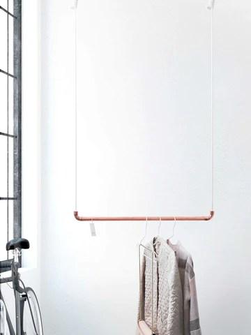 Design Tringle à vêtements de Rod & Knot ? The copperrope en cuivre Tuyau et corde en coton (Blanc) hängend, couvertures de besfestigung - 70 cm
