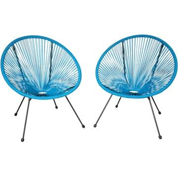 tectake 800729 2 Fauteuils Acapulco de Jardin de Salon Design rétro, pour Un Usage en intérieur et extérieur - Plusieurs Couleurs - (Bleu | no. 403306)