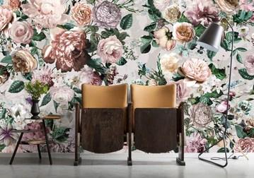 Komar Xxl4-051 Komar Victoria Bouquet de fleurs papier peint - (368 x 248 cm) - Blanc, Vert, Rouge, Orange, Violet, Jaune, gris, Bleu, Rose (1 pièce)