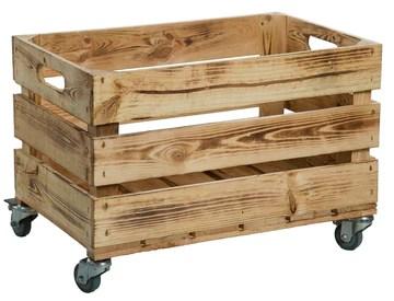 Nouvelle stable Cagette à fruits Boîte à Roulettes/caisse stiege, pomme, vin Pays + + + Nature Dimensions env. 54 x 35 x 35 cm Geflammt mit Rollen