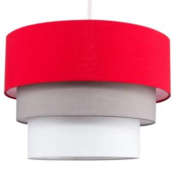 MiniSun Belle Abat-Jour pour Suspension de Plafond. Moderne - 3 Tambours en Cascade. Finition en Tissue Rouge, Gris et Blanc