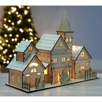 WERCHRISTMAS 28 CM EN BOIS GRAND MODÈLE SCÈNE DE L'ÉGLISE DÉCORATION DE NOËL ILLUMINÉ AVEC 4 LED BLANC CHAUD