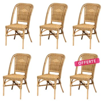 Rotin Design Black Friday Week: -47% Lot de 6 chaises Selva Miel en Osier