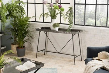 MACABANE HABY Table, Zinc, Anthracite, 111,5X41,5X76,5