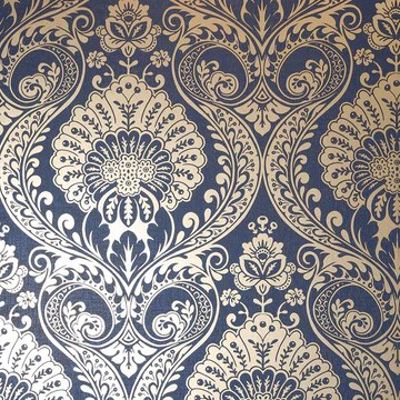 Arthouse Opera Rouleau de papier peint damassé Bleu marine doré 910308