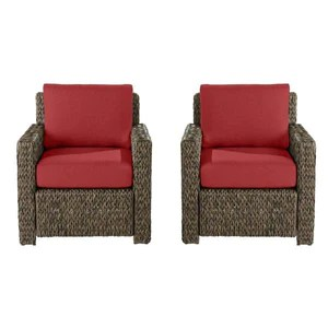 laguna point brown wicker outdoor patio lounge chair with cushion guard chili red cushions 2 pack
