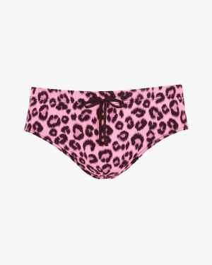 Leopard print swim briefs pink