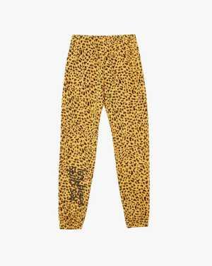 Slim animal print brushback track pants daffodil