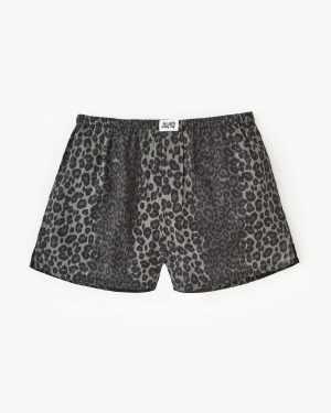Leopard print woven boxers grey