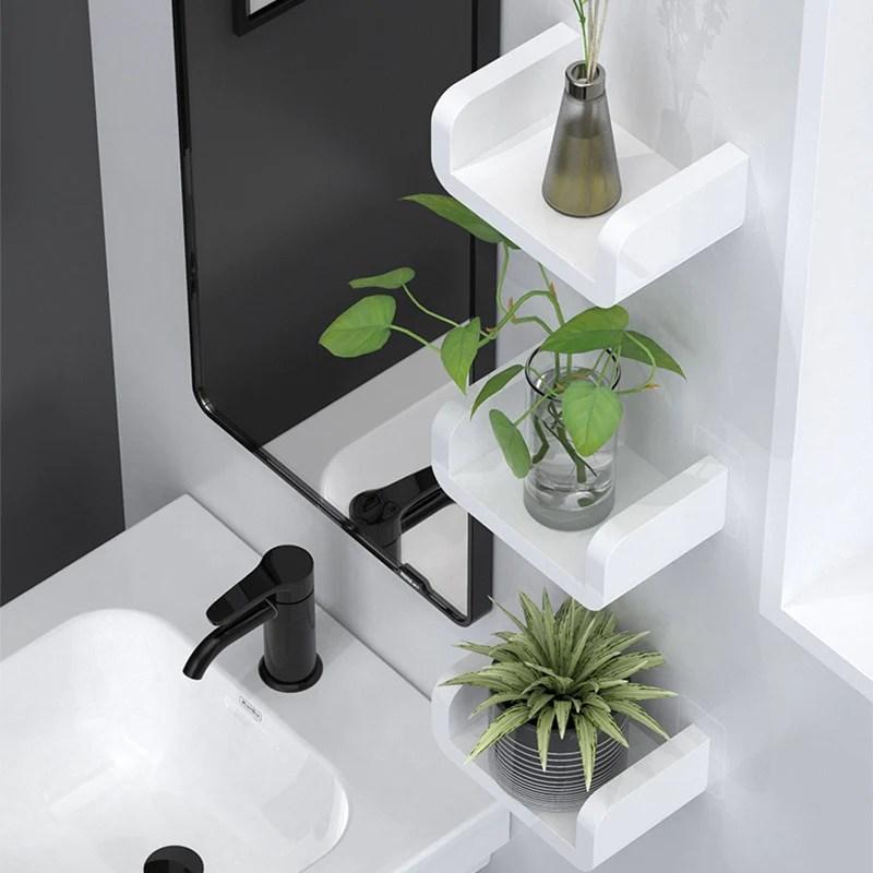 modern white bathroom storage shelves cosmetics holders shower rack kitchen shelves bathroom shower waterproof plastic shelf