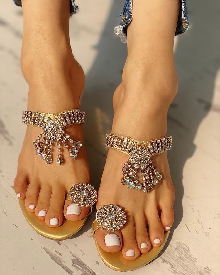 Studded Design Casual Heeled Sandals
