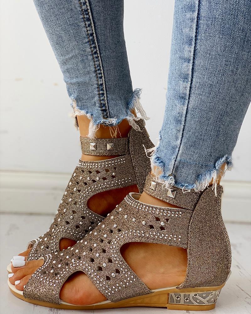Rivet Detail Cutout Flat Sandals