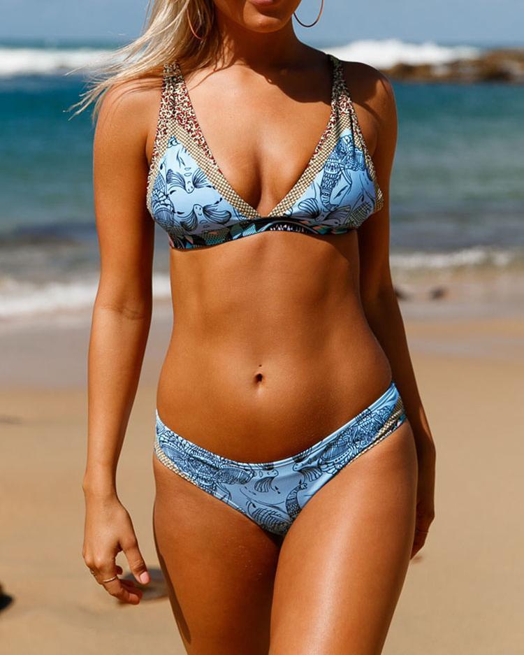 Hot Retro Print Strappy Back Bikini Swimsuit
