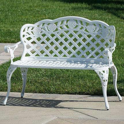banc exterieur de jardin blanc en aluminium