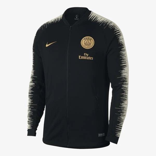 paris saint germain black anthem football nike training jacket