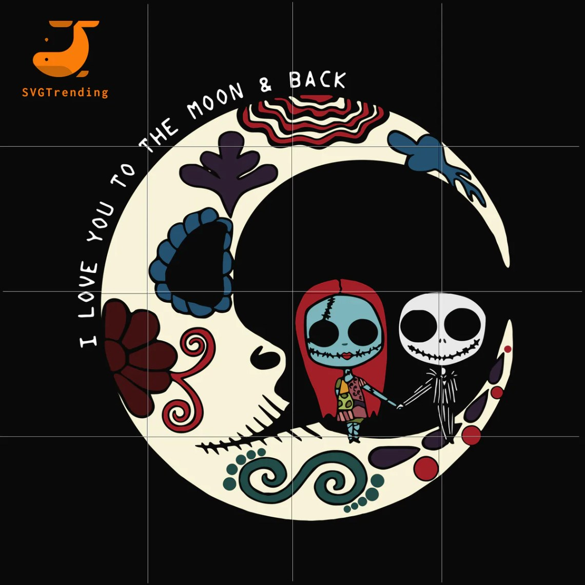 Download Sally and Jack Skellington I love you to the moon and back ...