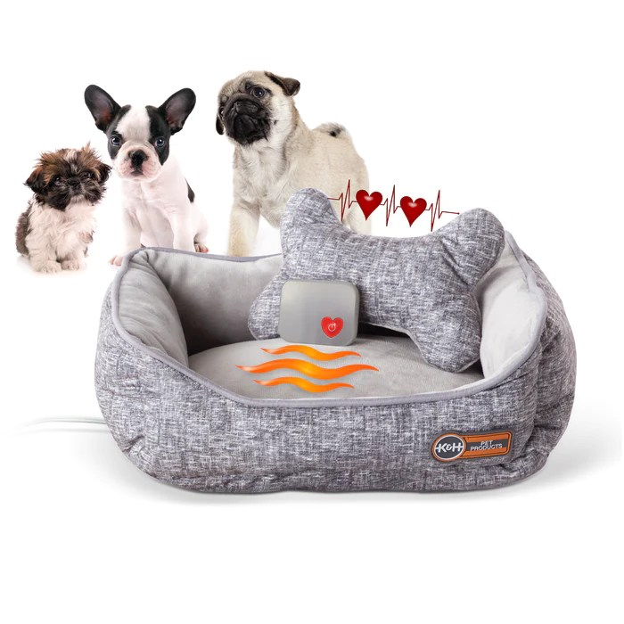 mother s heartbeat heated puppy pet bed with bone pillow