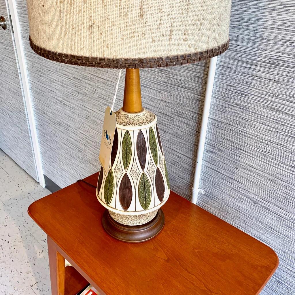 Large Mid Century Modern Walnut And Ceramic Table Lamp