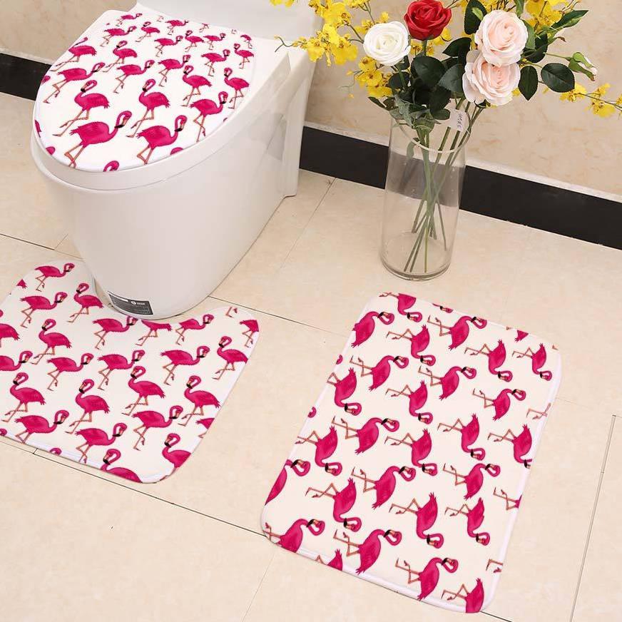 tapis flamant rose toilettes roseus