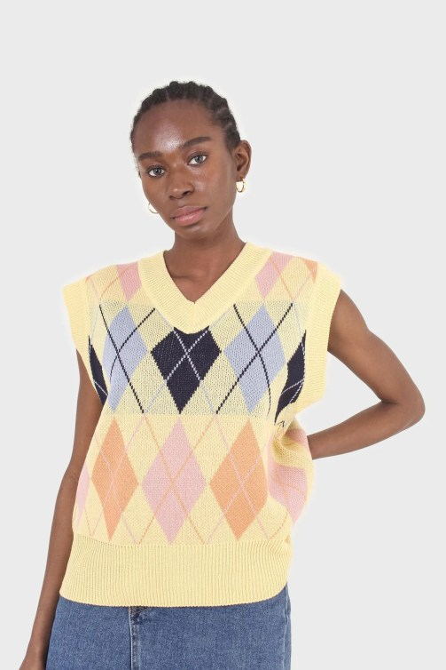 Yellow and pastel multicoloured argyle sweater vest