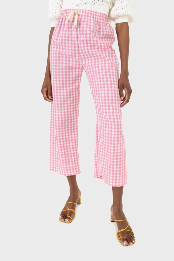 Pink and white gingham loose fit trousers Glassworks