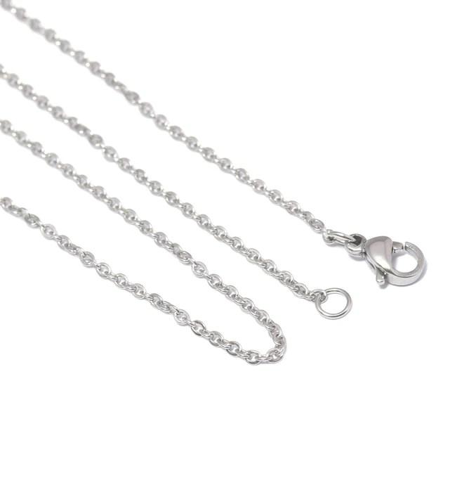 chaine fine collier complet 45cm en acier inoxydable 2x 1 5x 0 2mm avec fermoir couleur platine inox ideal