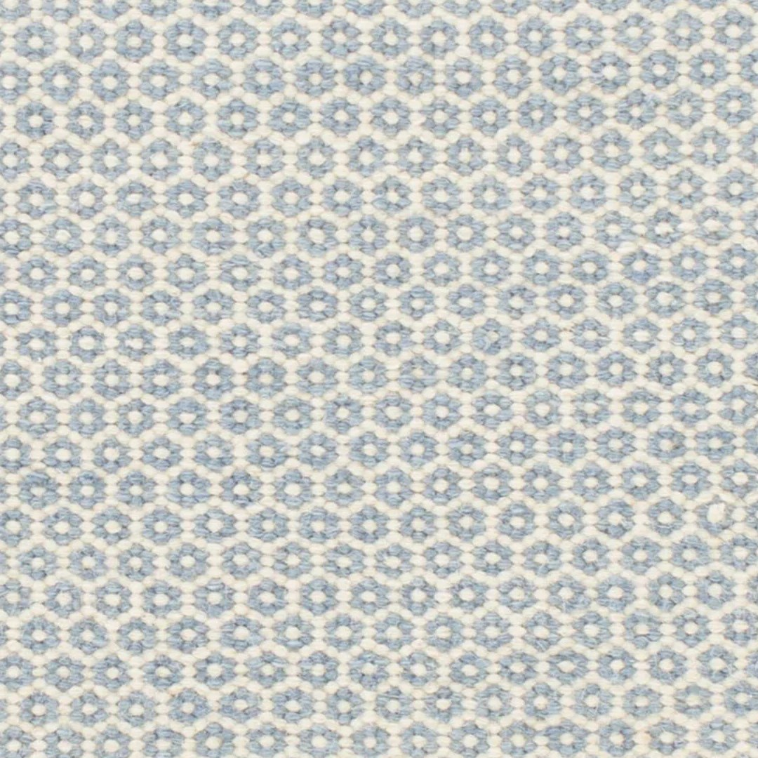 Honeycomb French Blue Ivory Wool Woven Rug Maine Cottage