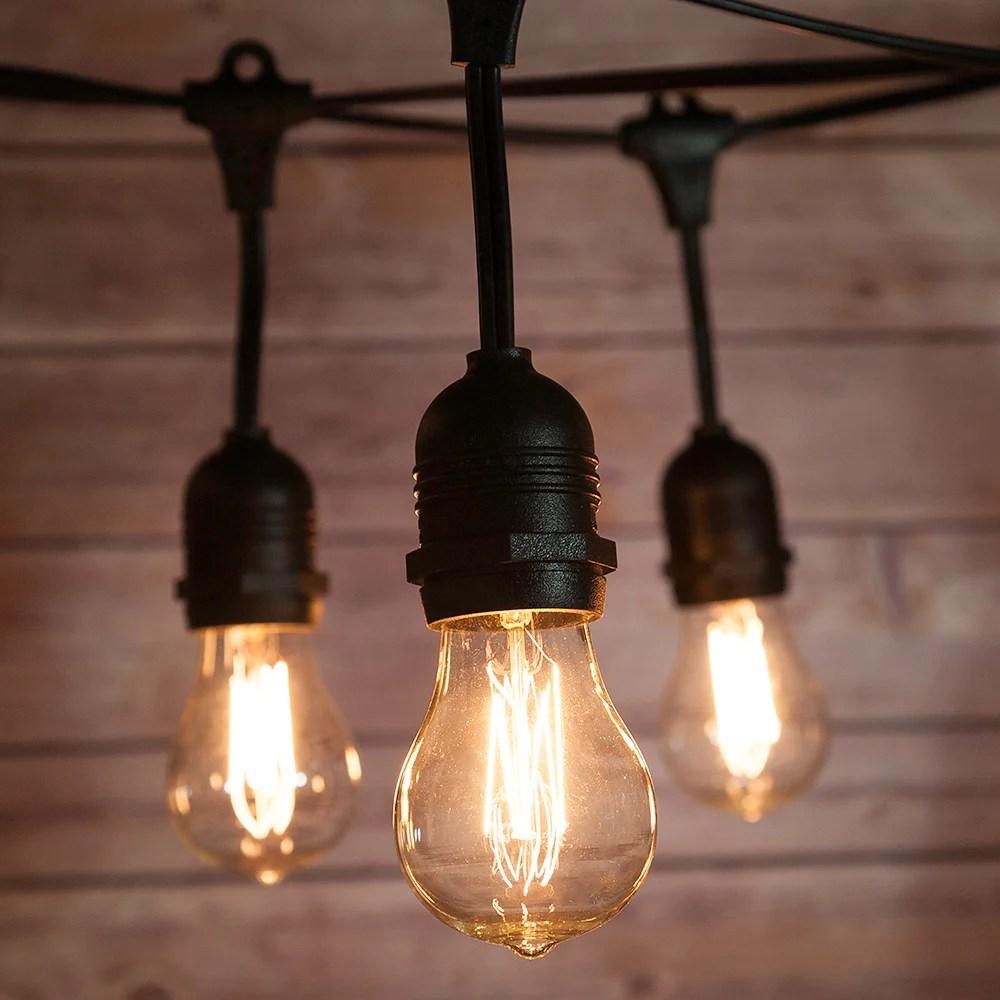 10 suspended socket vintage outdoor commercial string light set ps50 edison light bulbs 21 ft black cord w e26 11w weatherproof