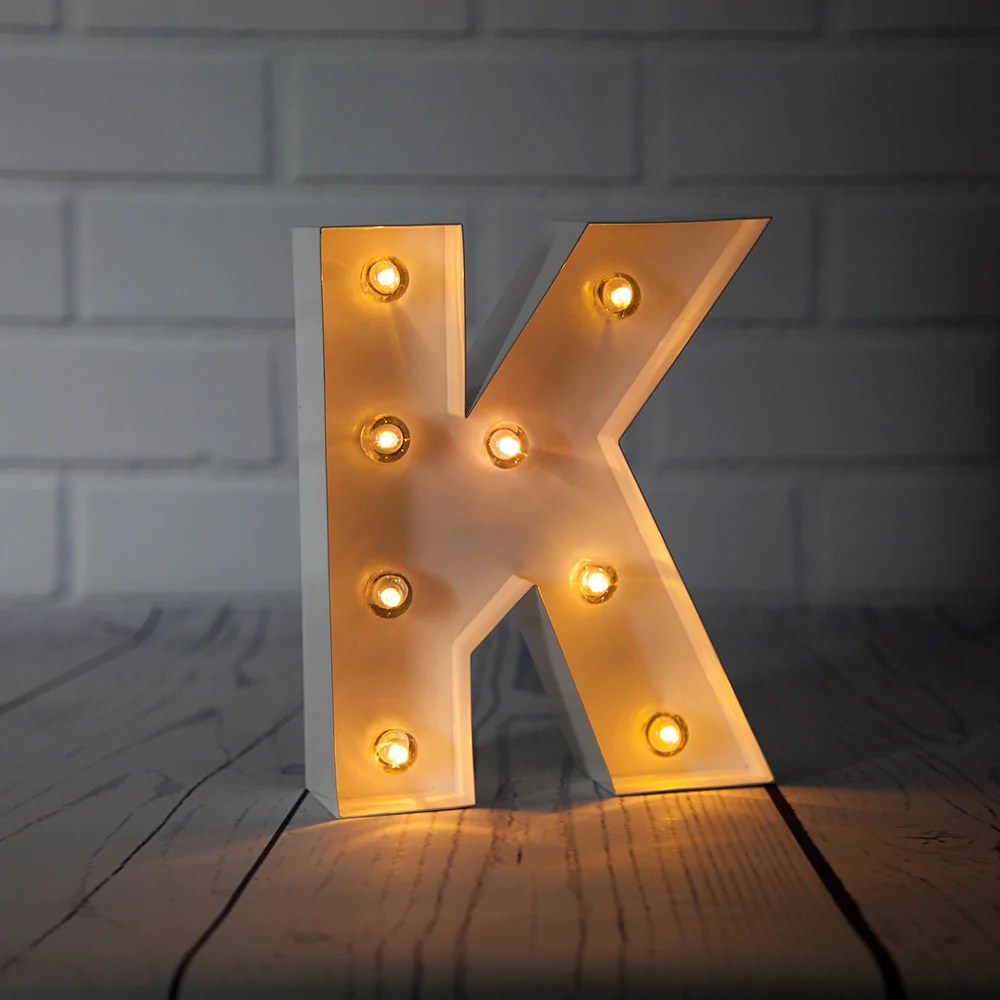 blowout white marquee light letter k led metal sign 8 inch battery operated w timer