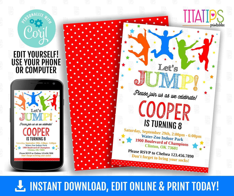 jump editable invitation trampoline boy birthday party invite jumping park birthday invite edit online with corjl