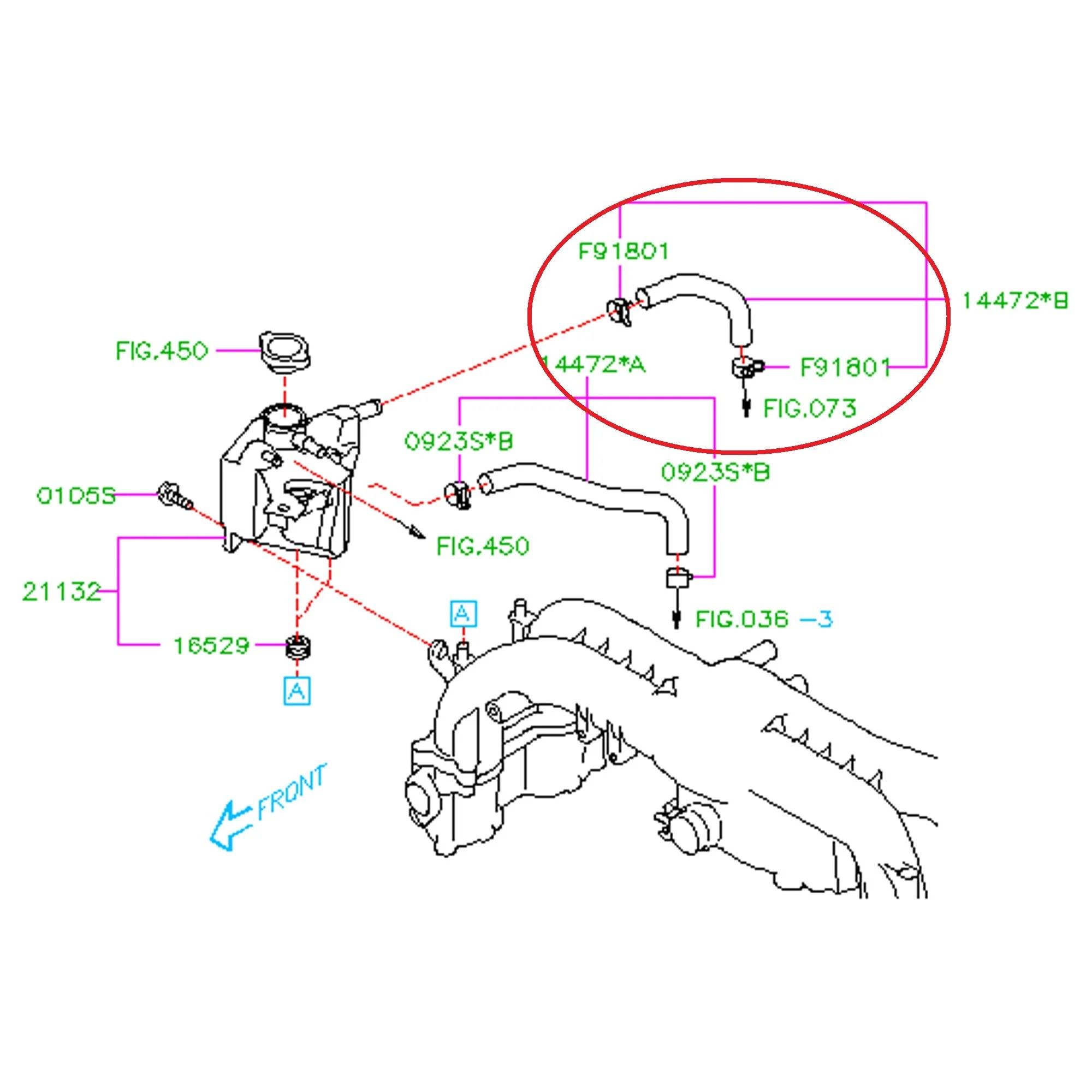 Subaru 2008 2014 wrx turbo to expansion tank hose