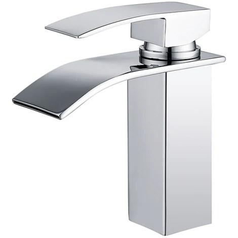 robinet salle de bain cascade mitigeur de lavabo en laiton robinet a deux voies chrome design moderne