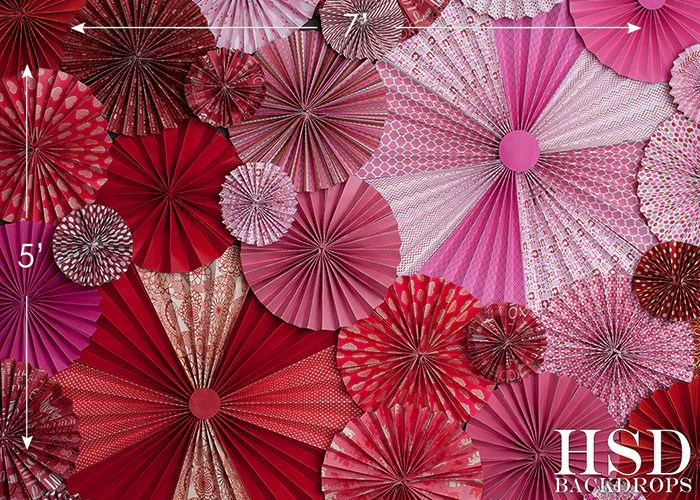 Valentines Day Pinwheel Fans Photography Backdrop
