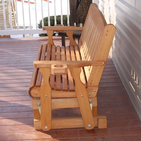 outdoor wooden glider benches at