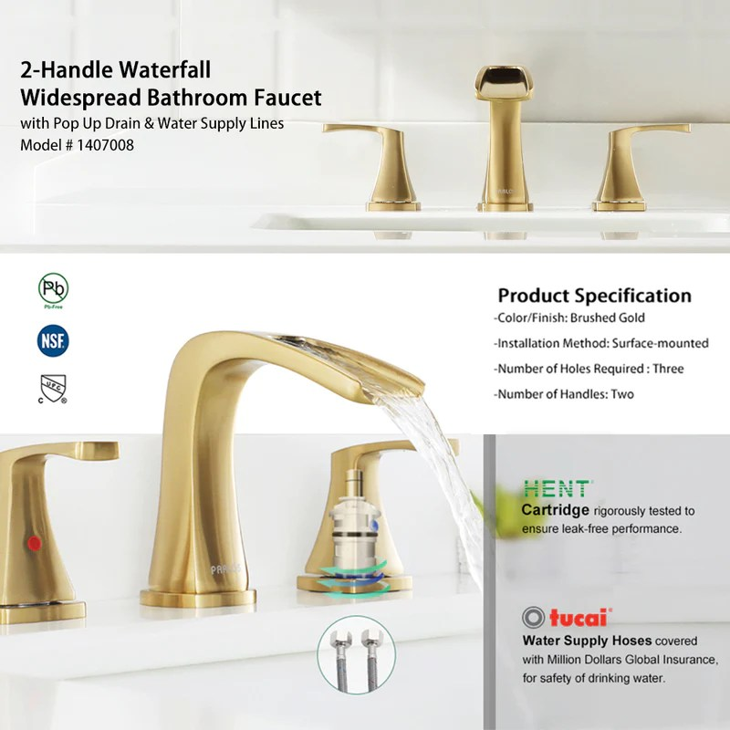 parlos waterfall widespread bathroom faucet 2 handles with pop up drain cupc faucet supply lines brushed gold doris 1407008