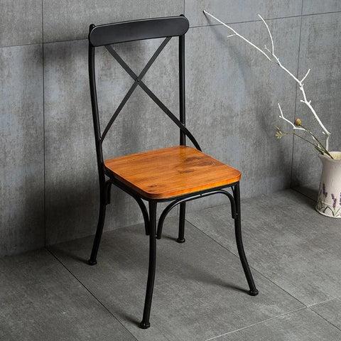 chaise de table industrielle lana fer et bois
