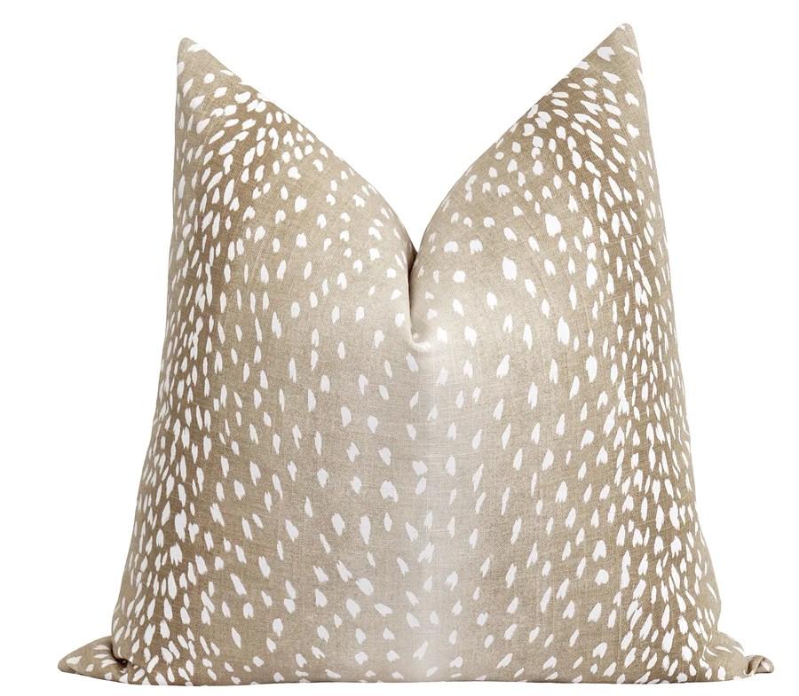 fawn beige antelope deer print linen pillow