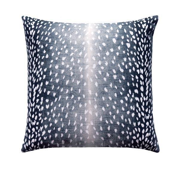 navy antelope fawn deer print linen pillow