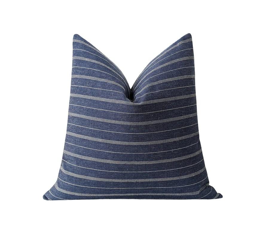 woven denim blue white striped pillow