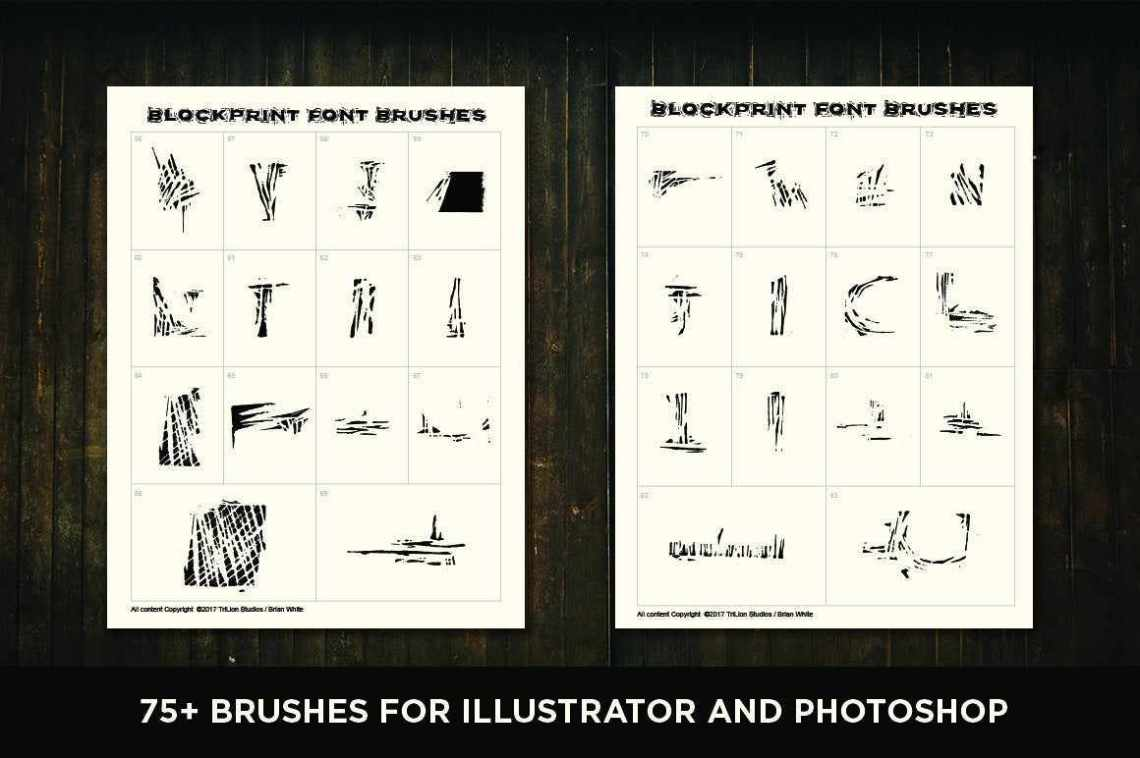 Download Blockprint Font & Brush Pack for Adobe Illustrator and ...