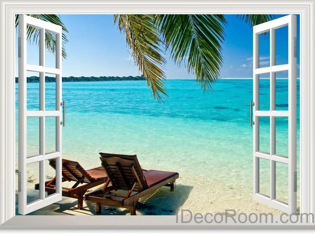 Palm Tree Sunshine Coast 3D Window View Wall Decals