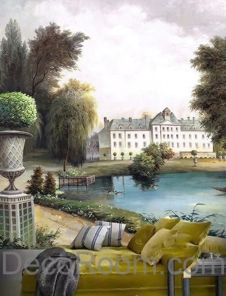 3D Vintage Castle Painting Lake Wall Paper Wallpaper Wall