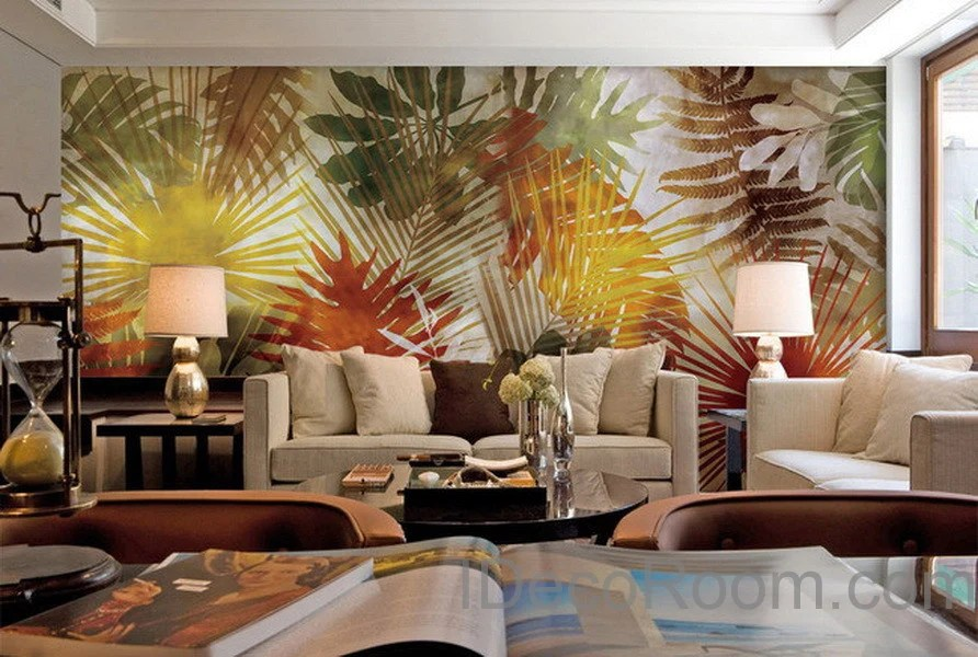 Colorful Tropical Leaves Wall Paper Wall Print Decals Home Decor     Colorful Tropical Leaves Wall Paper Wall Print Decals Home Decor Indoor  Wall Mural wallpaper