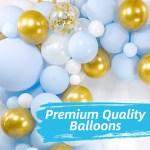 Baby Balloon Garland Kit 120 Pack Baby Blue Chrome Gold Pearl Wh Bloonsy Balloon Garlands