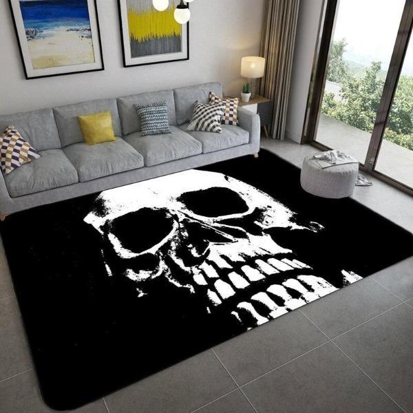 tapis tete de mort noir skull