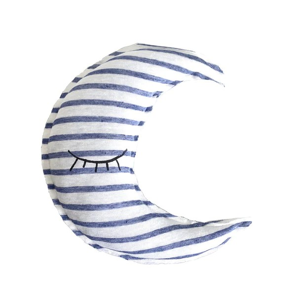 crescent moon shaped striped pillow sleeping eyes print